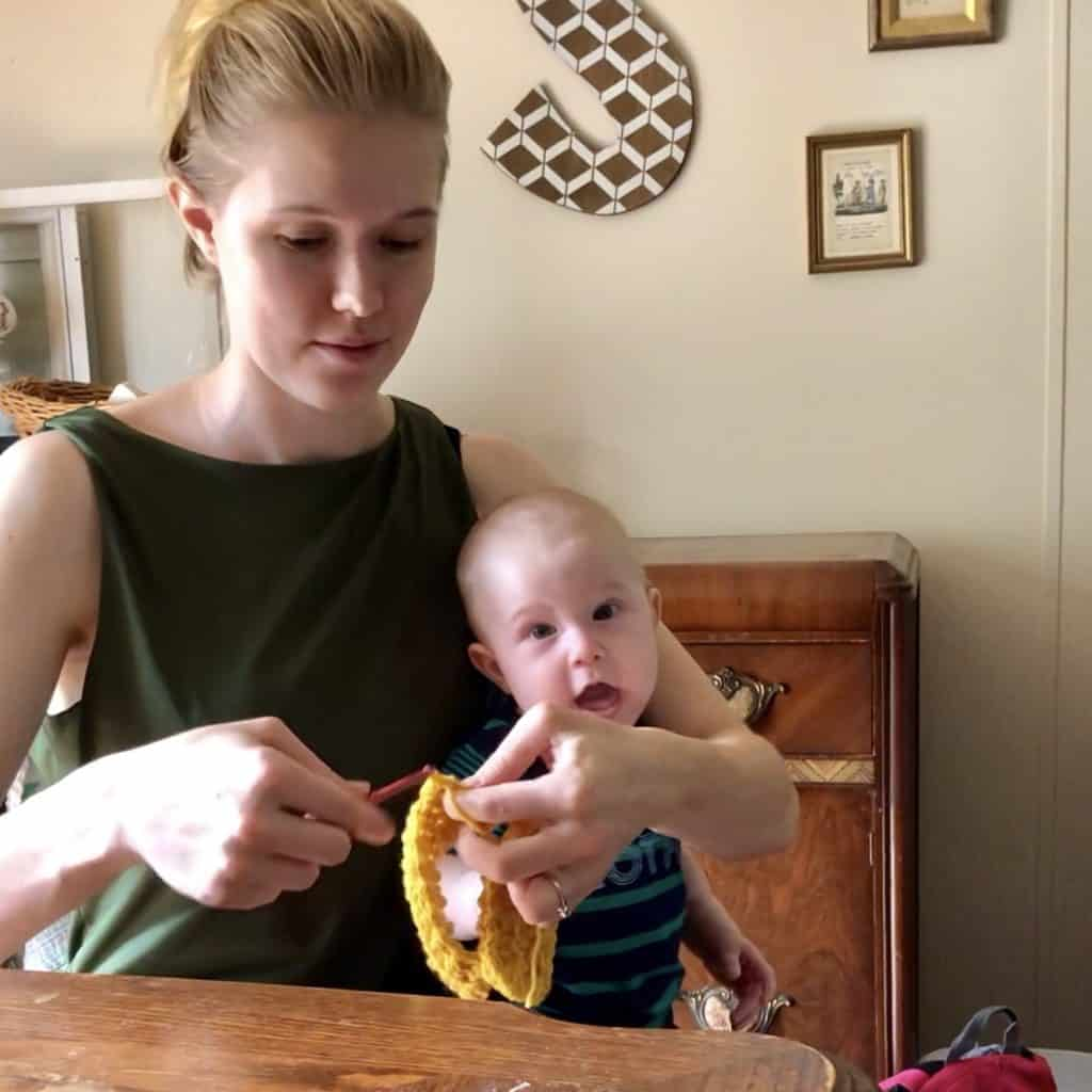 Mom crocheting