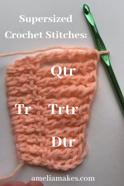 Labeled names of tall crochet stiches