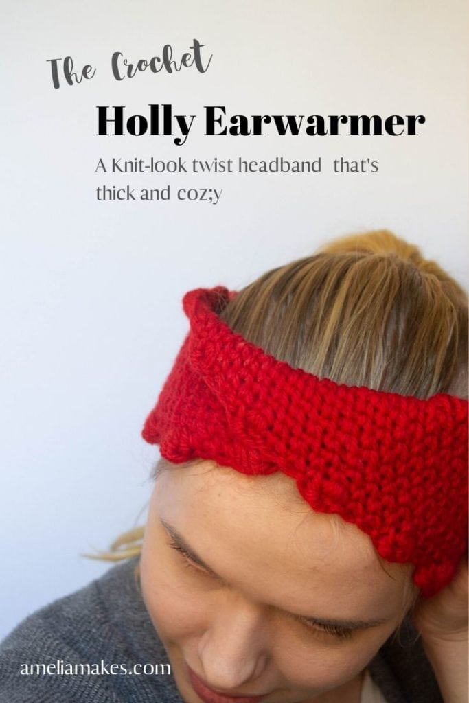 crochet headband or earwarmer in bright red