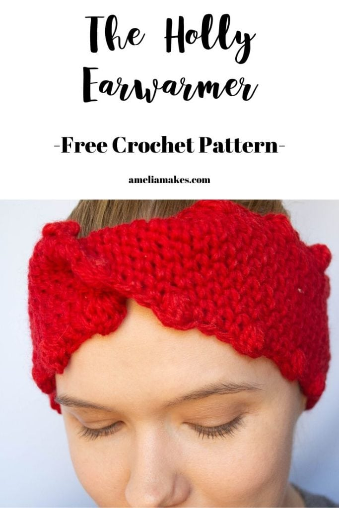 Crochet headband or earwarmer with a twist
