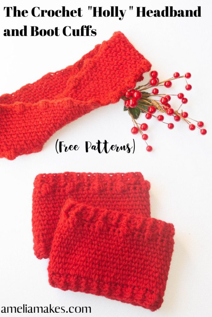 Crochet headband and boot cuffs set
