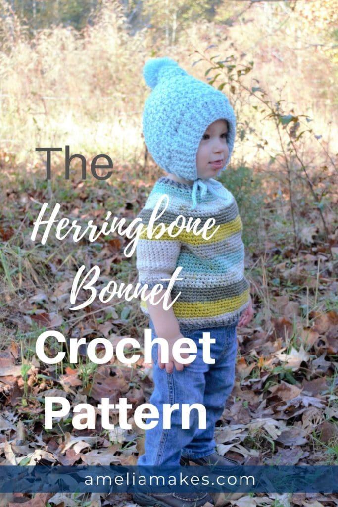 Crochet Pattern Herringbone Bonnet