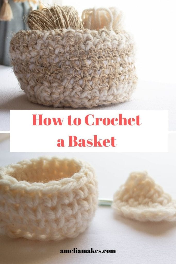 Crochet baskets with two examples