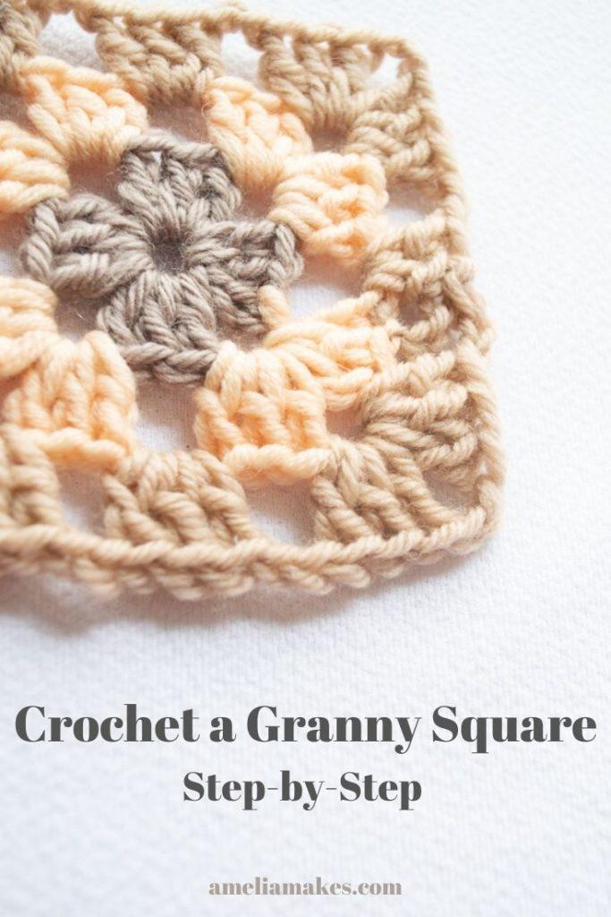 crocheting a granny square pin image
