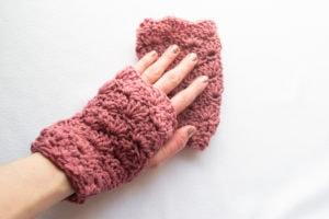 pink shell stitch fingerless gloves in crochet shell stitch