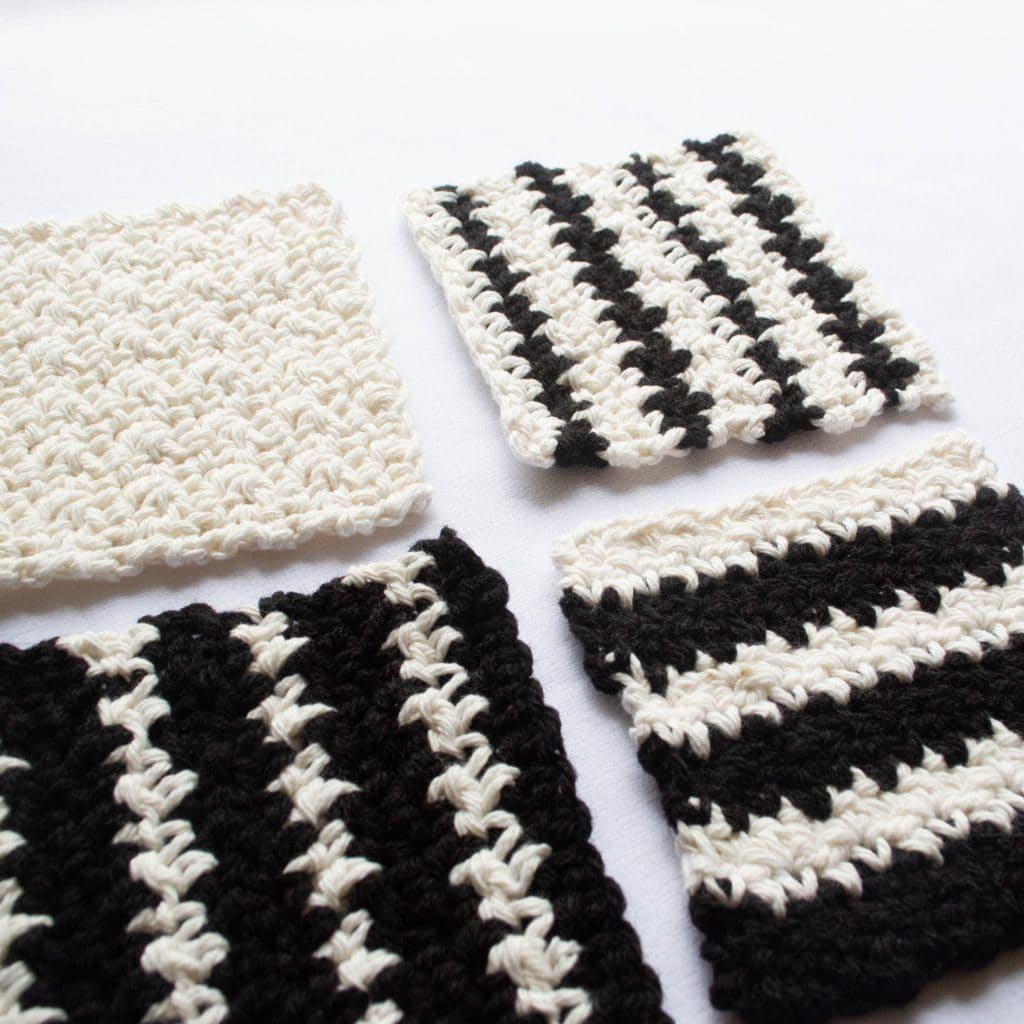 Coasters worked in the crochet griddle stitch.