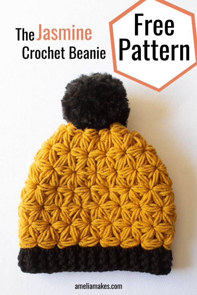 Pinterest graphic for the Jasmine Stitch yellow beanie