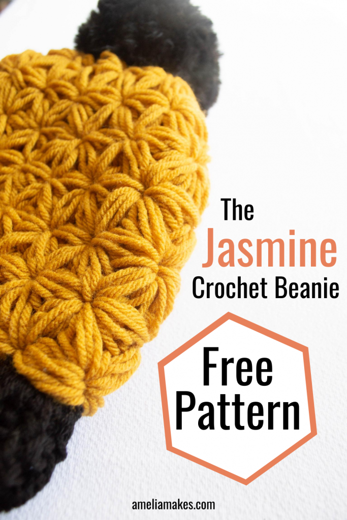 close-up pinterest graphic for a yellow crochet beanie