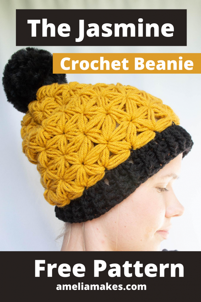 pinterest graphic for a crochet beanie
