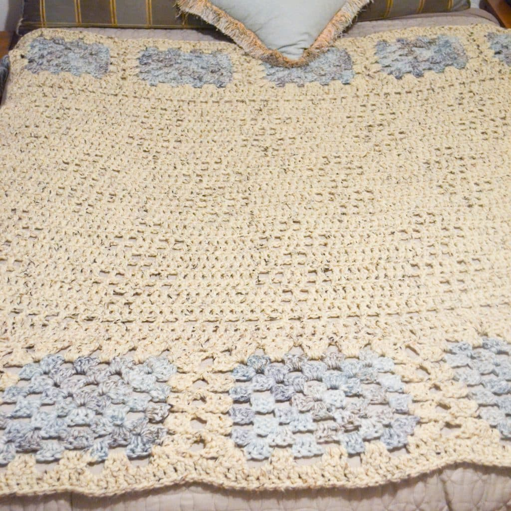 A full picture of this blanket, showing the crochet stitch pattern and overall design.