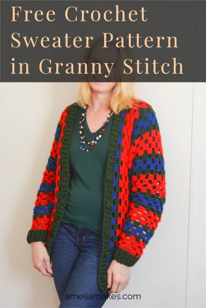 Pinterest graphic for the Granny Gifts Crochet Sweater.