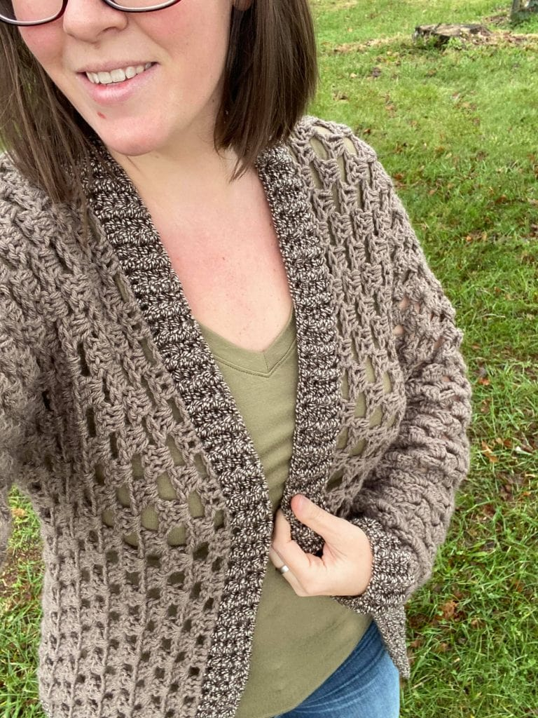 Image of the Granny Gifts Cardigan that Jennifer B made, in neutral brown.