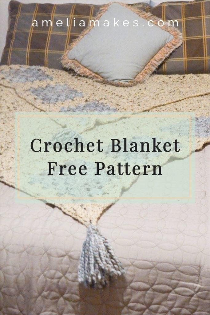 Pinterest graphic for this crochet blanket design.