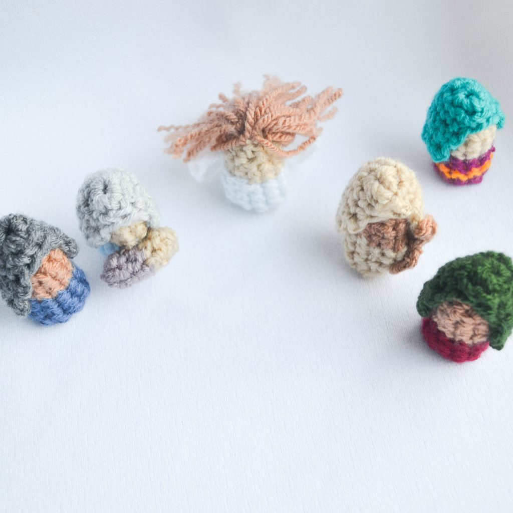 A look at all of the crochet finger puppets in this set.