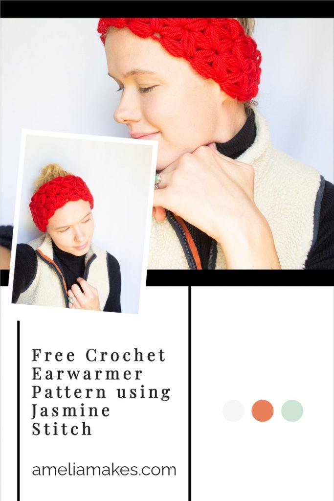 Pinterest Graphic for this crochet earwarmer
